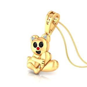 Diamond Pendant In 18Kt Gold(1.850 Gram)With Diamonds(0.01 Ct) For Kids