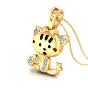 Diamond Pendant In 18Kt Gold(2.960 Gram)With Diamonds(0.06 Ct) for kids