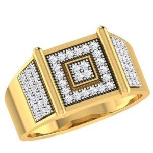 Diamond Ring in 18Kt Gold (8.170 gram) with Diamonds (0.65 Ct) for Men