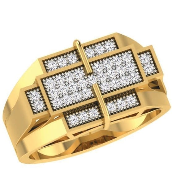 Diamond Ring In 18Kt Gold (11.330 Gram) With Diamonds (0.32 Ct) For Men