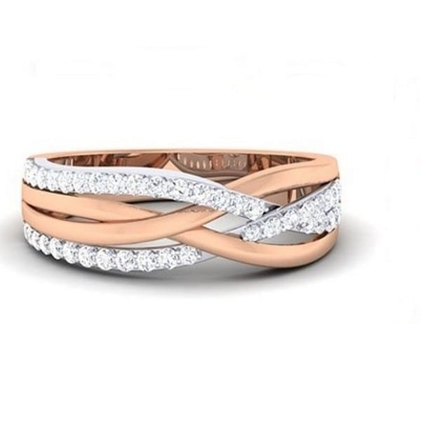 Diamond Ring In 18Kt Gold (4.910 Gram) With Diamonds (0.61 Ct) For Women