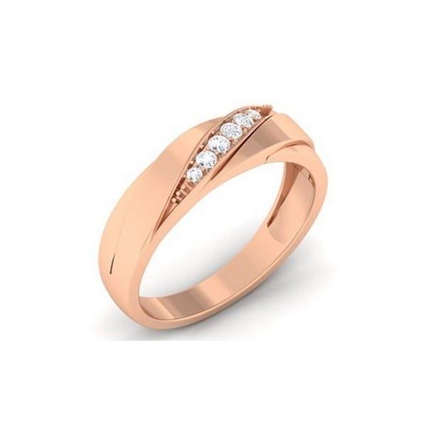 Diamond Ring In 18Kt Gold (4.028 Gram) With Diamonds (0.16 Ct) For Men