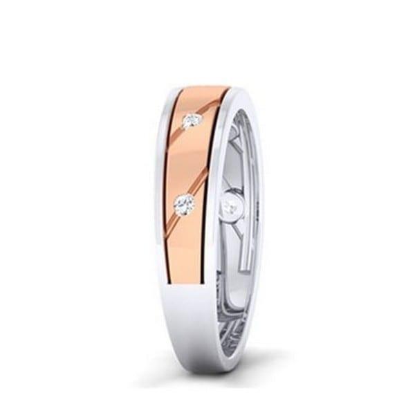 Diamond Ring In 2-tone 18Kt Gold (5.170 Gram) With Diamonds (0.13 Ct) For Men