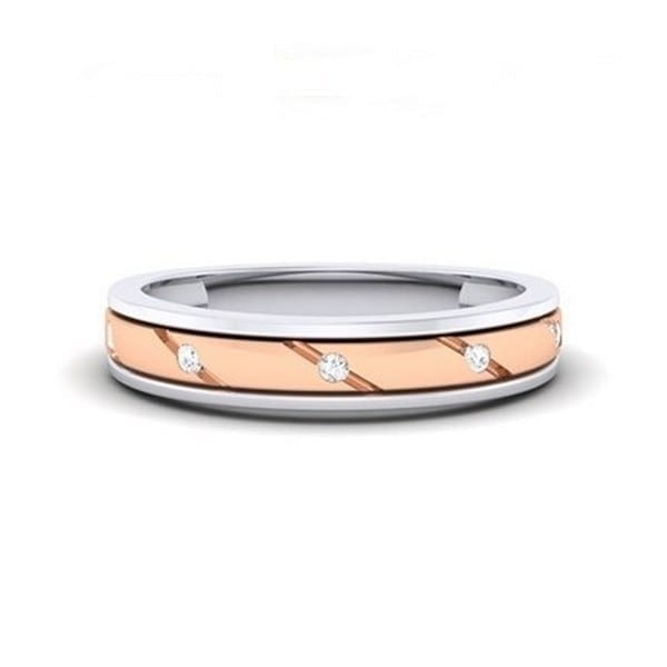 Diamond Ring in 2-tone 18Kt Gold (3.180 gram) with Diamonds (0.08 Ct) for Women