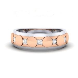 Diamond Ring In 2-tone 18Kt Gold (6.970 Gram) With Diamonds (0.13 Ct) For Men
