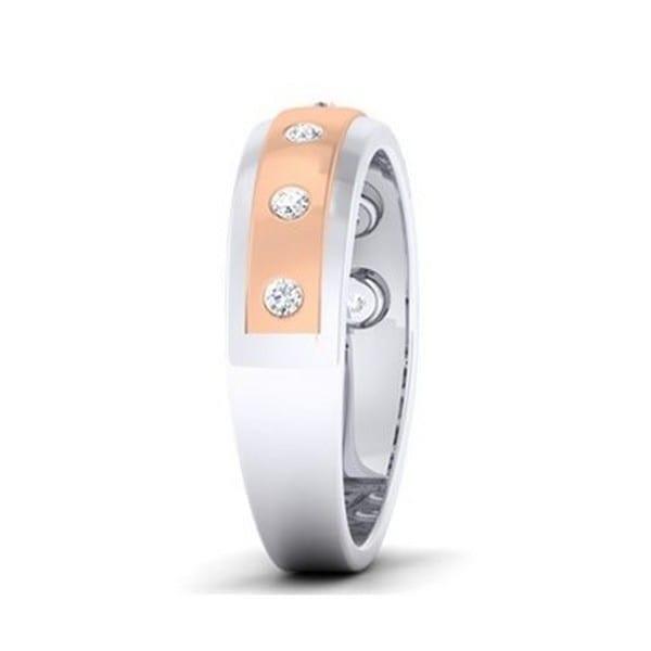 Diamond Ring In 2-Tone 18Kt Gold (5.270 Gram) With Diamonds (0.25 Ct) For Men