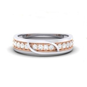 Diamond Ring in 2-tone18Kt Gold (4.430 gram) with Diamonds (0.34 Ct) for Women
