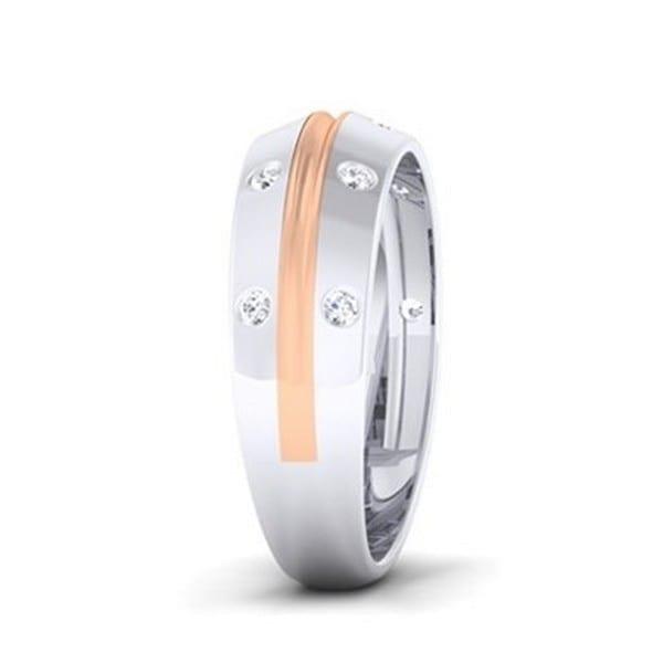 Diamond Ring In 2-Tone 18Kt Gold (6.530 Gram) With Diamonds (0.35 Ct) For Men