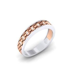 Diamond Ring in 2-tone 18Kt Gold (3.770 gram) with Diamonds (0.11 Ct) for Women