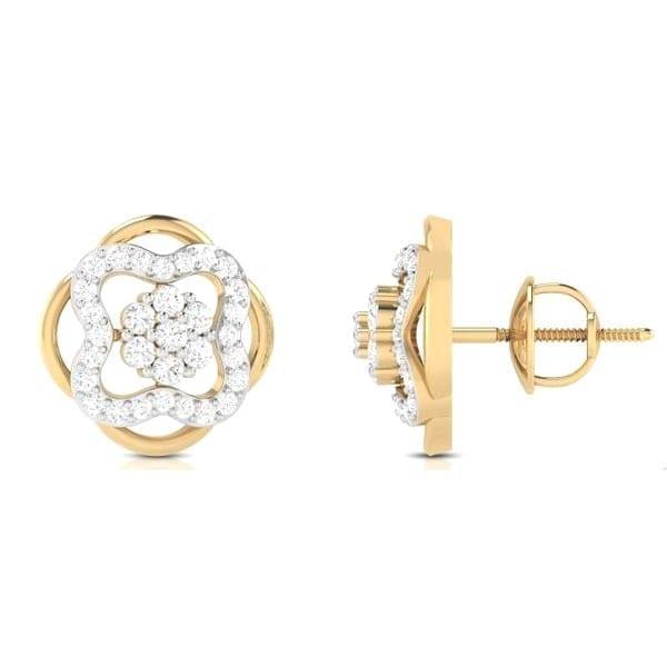 Diamond Earring in 18Kt Gold (3.100 gram) with Diamonds (0.49 Ct)