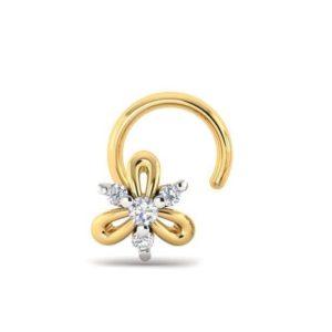Diamond Nose Ring (0.03 ct), 18 Kt Yellow Gold Jewellery