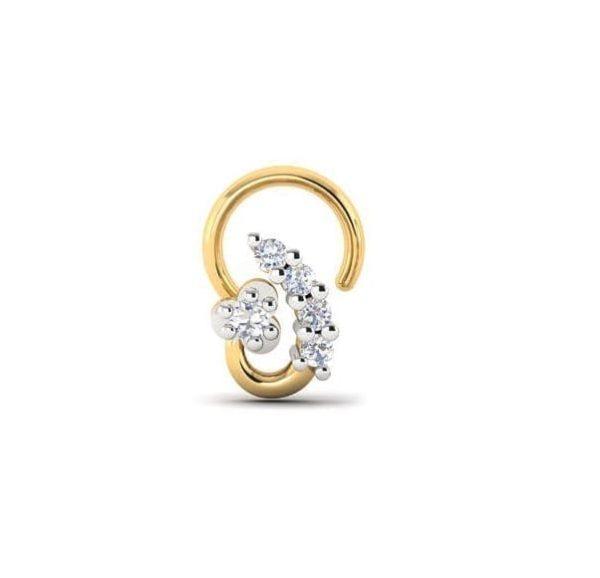Diamond Nose Ring (0.06 ct), 18 Kt Yellow Gold Jewellery