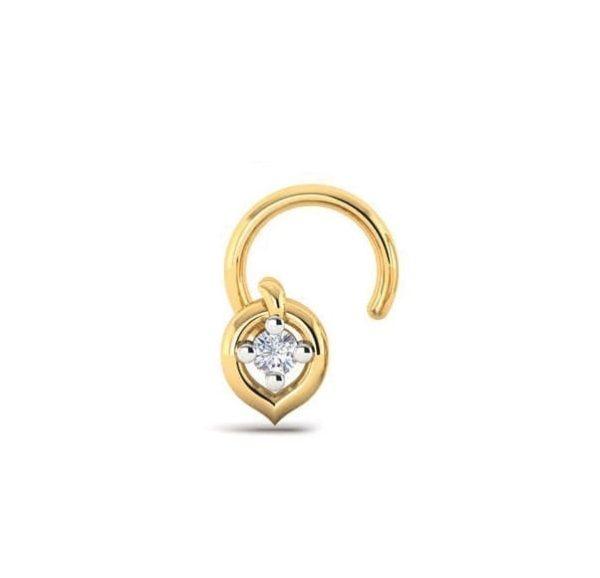 Diamond Nose Pin (0.02 ct), 18 Kt Yellow Gold Jewellery
