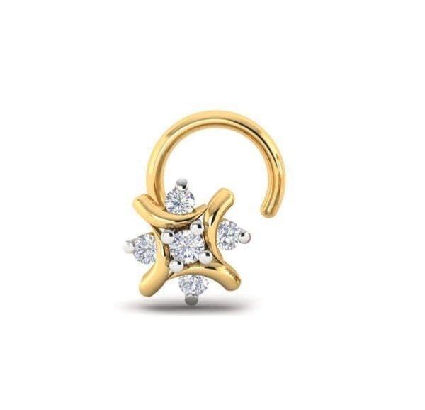 Diamond Nose Ring (0.05 ct), 18 Kt Yellow Gold Jewellery