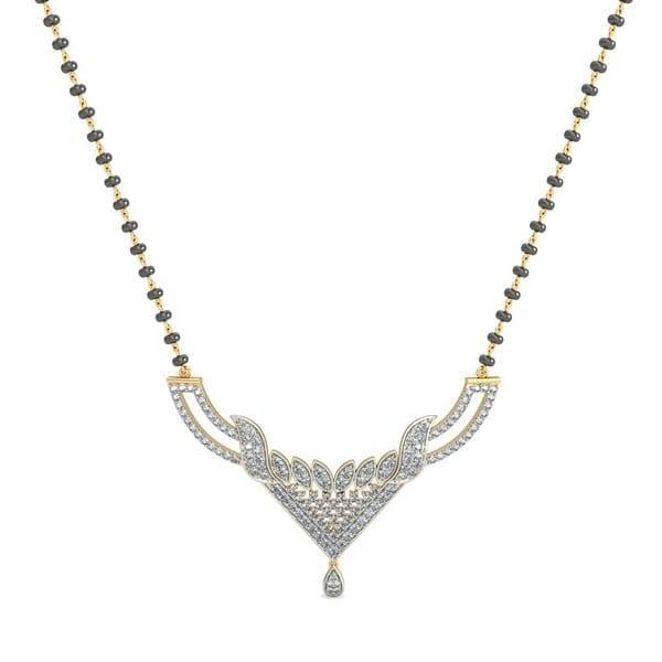 Diamond Mangalsutra In 18Kt Gold(7.820 gram)with Diamonds(0.90 Ct)