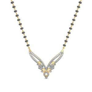 Diamond Mangalsutra In 18Kt Gold(3,880 gram)with Diamonds(0.60 Ct)