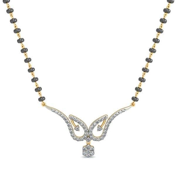 Diamond Mangalsutra In 18Kt Gold(2.410 gram)with Diamonds(0.41 Ct)