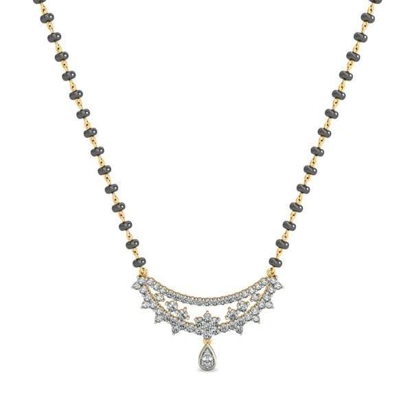 Diamond Mangalsutra In 18Kt Gold(3.340 gram)with Diamonds(0.77 Ct)