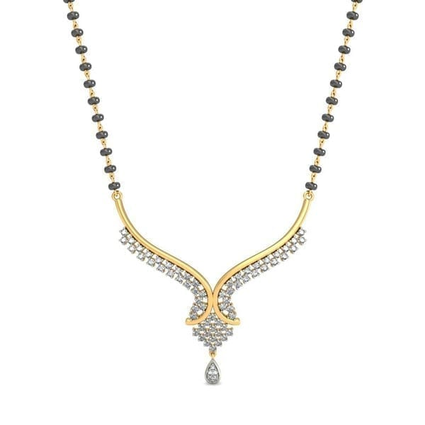Diamond Mangalsutra In 18Kt Gold(6.620 gram)with Diamonds(0.37 Ct)