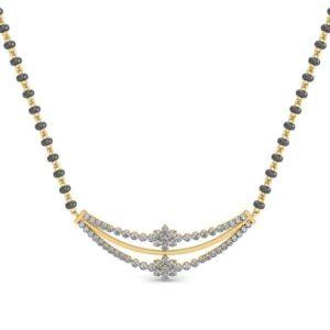 Diamond Mangalsutra In 18Kt Gold(3.600 gram)with Diamonds(0.48 Ct)