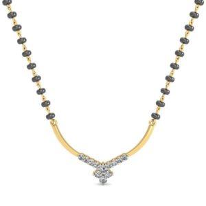 Diamond Mangalsutra In 18Kt Gold(1.850 gram)with Diamonds(0.24 Ct)