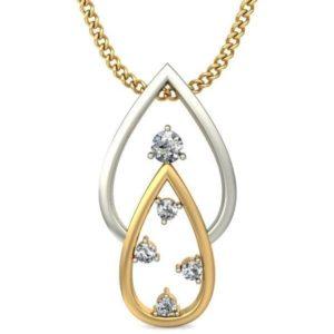 Diamond Pendant In 2-tone 18Kt Gold(0.880 Gram)With Diamonds(0.08 Ct) for women