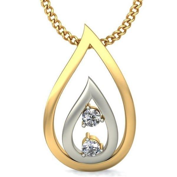 Diamond Pendant In 2-tone 18Kt Gold(1.290 Gram)With Diamonds(0.05 Ct) for women