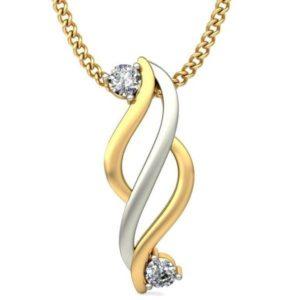 Diamond Pendant In 2-tone 18Kt Gold(0.890 Gram)With Diamonds(0.07 Ct) for women