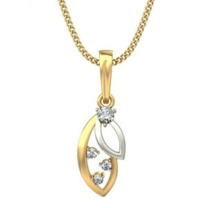 Diamond Pendant In 2-tone 18Kt Gold(1.080 Gram)With Diamonds(0.12 Ct) for Women