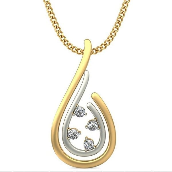 Diamond Pendant In 2-tone 18Kt Gold(1.290 Gram)With Diamonds(0.06 Ct) for Women