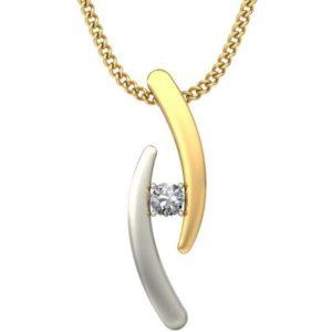 Diamond Pendant In 2-tone 18Kt Gold(0.990 Gram)With Diamonds(0.04 Ct) for Women