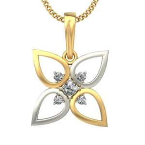 Diamond Pendant In 2-tone 18Kt Gold(1.580 Gram)With Diamonds(0.10 Ct) for Women
