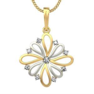 Diamond Pendant In 2-tone 18Kt Gold(2.060 Gram)With Diamonds(0.16 Ct) for Women