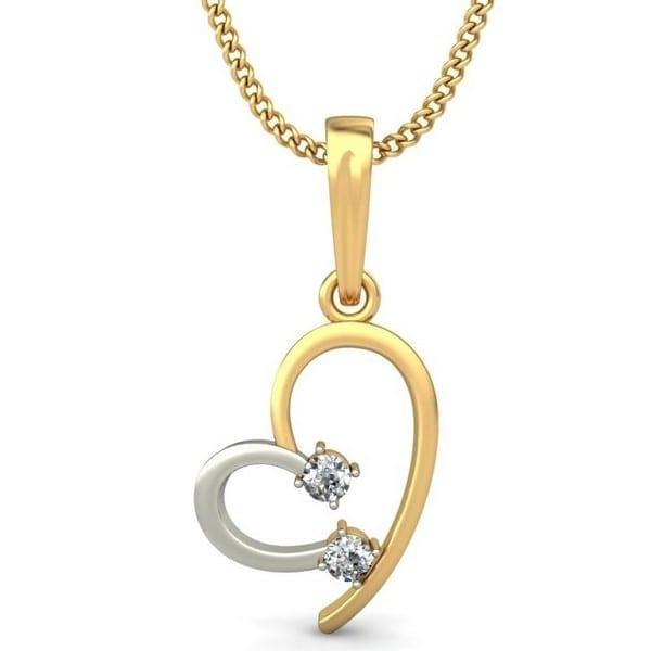 Diamond Pendant In 2-tone 18Kt Gold(0.980 Gram)With Diamonds(0.07 Ct) for Women