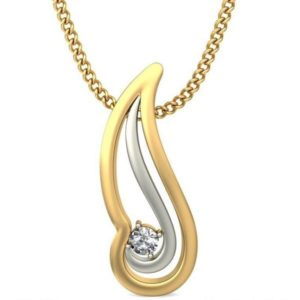 Diamond Pendant In 2-tone 18Kt Gold(1.090 Gram)With Diamonds(0.04 Ct) for Women