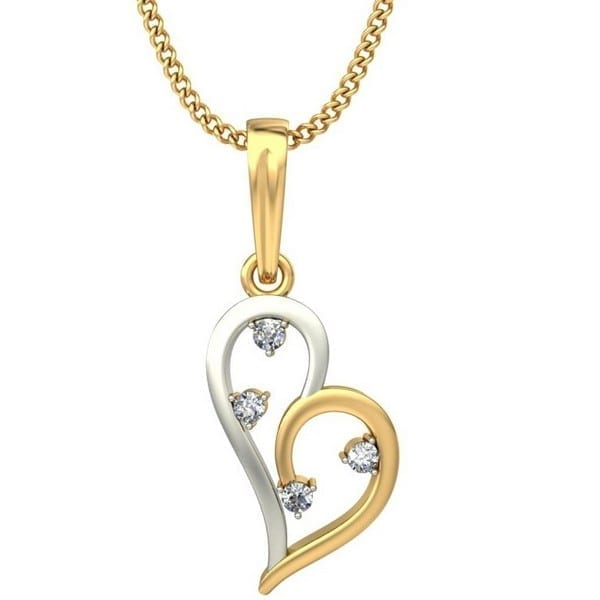 Diamond Pendant In 2-Tone 18Kt Gold(1.190 Gram)With Diamonds(0.06 Ct) For Women