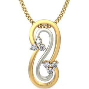 Diamond Pendant In 2-Tone 18Kt Gold(1.280 Gram)With Diamonds(0.09 Ct) For Women
