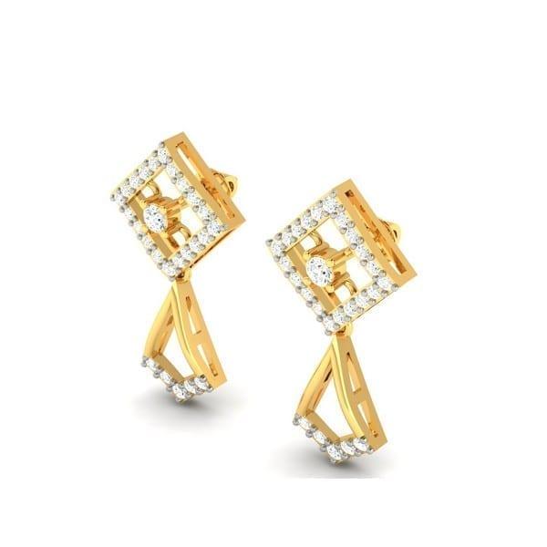 Diamond Earring in 18Kt Gold (2.500 gram) with Diamonds (0.37 Ct)