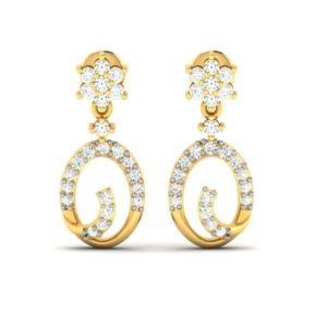 Diamond Earring in 18Kt Gold (2.220 gram) with Diamonds (0.34 Ct)