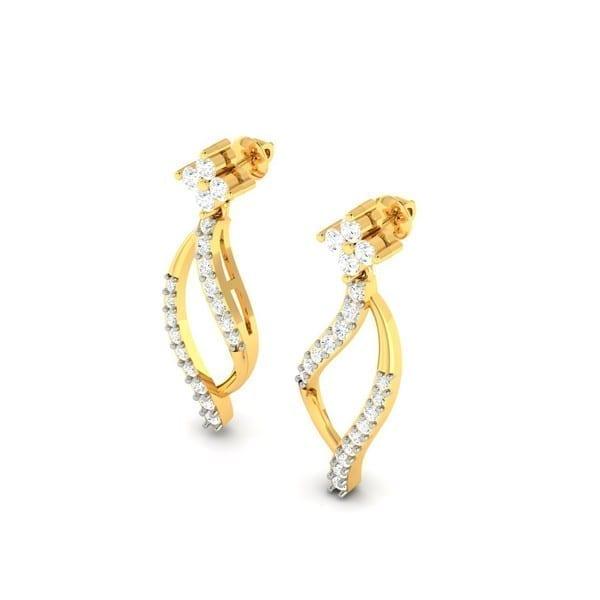 Diamond Earring in 18Kt Gold (3.000 gram) with Diamonds (0.34 Ct)