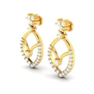 Diamond Earring in 18Kt Gold (2.700 gram) with Diamonds (0.45 Ct)
