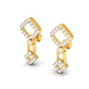 Diamond Earring in 18Kt Gold (2.590 gram) with Diamonds (0.37 Ct)