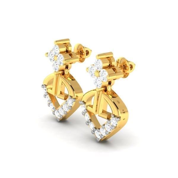 Diamond Earring in 18Kt Gold (2.170 gram) with Diamonds (0.31 Ct)
