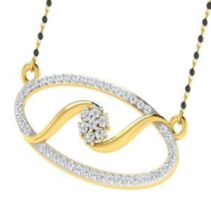 Diamond Mangalsutra In 18Kt Gold(3.630 gram)with Diamonds(0.60 Ct)