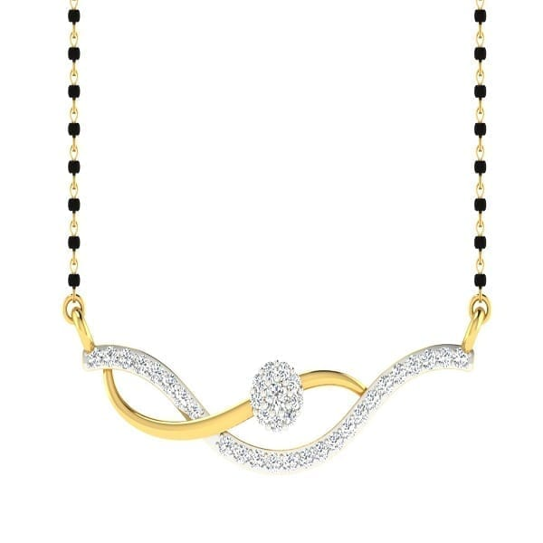 Diamond Mangalsutra In 18Kt Gold(2.370 gram)with Diamonds(0.32 Ct)