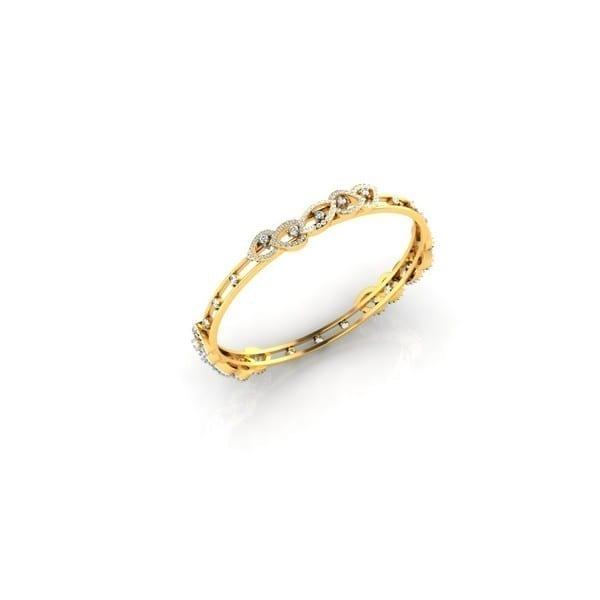 Diamond Bangles In 18Kt Gold(22.380 Gram)With Diamonds(3.08 Ct)