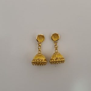 Gold Jhumkis (4.390 Grams), 22Kt Plain Yellow Gold Jewellery – Earrings