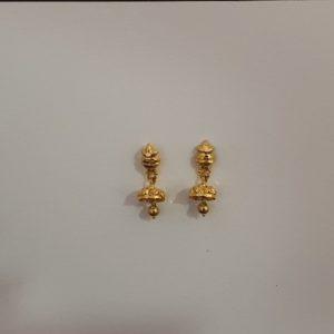 Gold Jhumkis (1.850 Grams), 22Kt Plain Yellow Gold Jewellery – Earrings