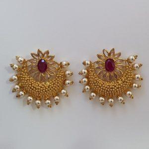 Gold Chaandbaalis (10.420 Grams) with Synthetic Stones, 22Kt Yellow Gold Jewellery – Earrings