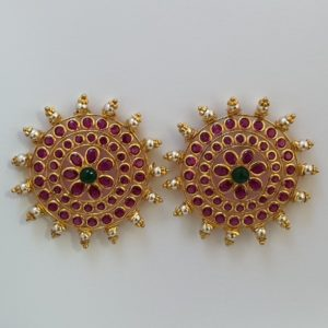 Designer Gold Earrings (9.350 Grams) with Synthetic Stones set in 22Kt Yellow Gold – Ear Studs